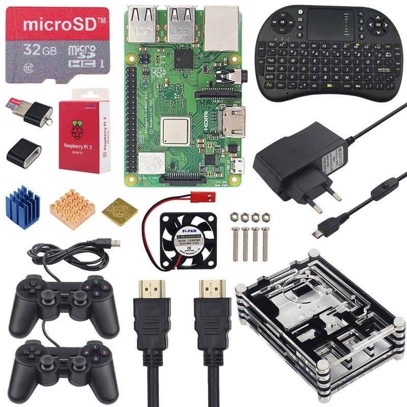 Raspberry Pi 3 Kit de jeu + 16 carte SD 32GB + Mini clavier + manette de jeu + boitier + alimentation + dissipateur de chaleur + câble HDMI pour RetroPie