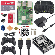 Raspberry Pi 3 игровой комплект + 16 32 Гб sd-карта + мини-клавиатура + игровой контроллер + чехол + мощность + радиатор + HDMI кабель для RetroPie