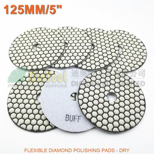 "DIATOOL 7pcs 5"" White Buff B Diamond Dry Polishing Pads For Granite Marble Ceramic"