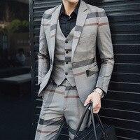 FOLOBE Fashion Plaid 3 PCS Mens Suits Wedding Groom Plus Size Slim Fit Casual Tuxedos Formal Business Suit Male fashion suit