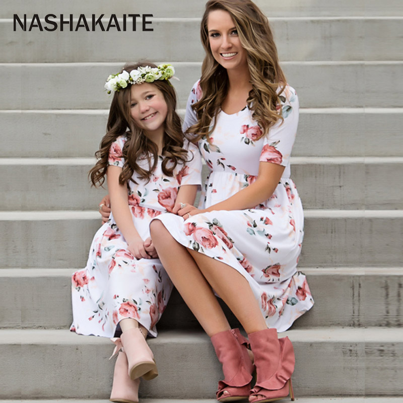 Mother daughter dresses 2018 New Floral Family matching clothes mom and daughter dress Family Look Mother and daughter clothes ...