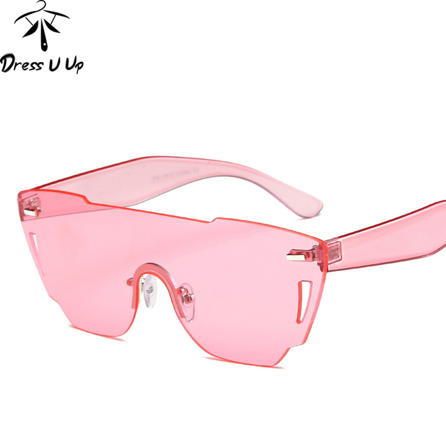 445b6984d271e DRESSUUP Bonbons Couleur lunettes de Soleil Sans Monture Femmes Oversize  Nuances De Luxe Concepteur de Marque