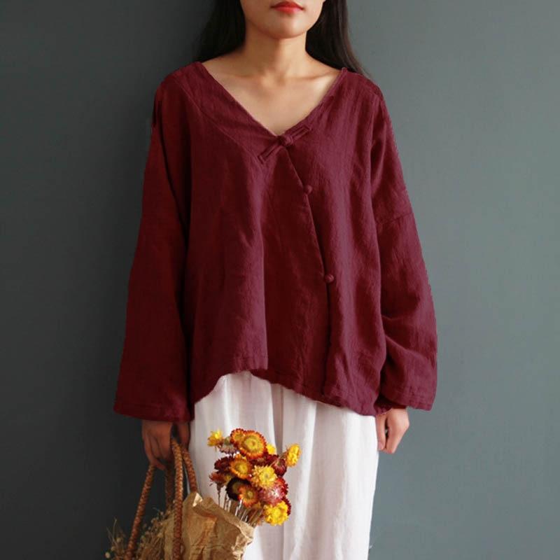 2018 Zanzea Vintage Women V Neck Long Sleeve Buttons Cotton Linen Loose Tops Solid Casual Retro Split Hem Blouse Shirt Plus Size