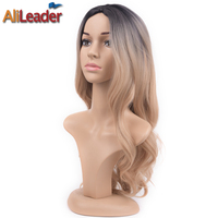 Alileader Hair Products Black To Blonde Wig Dark Roots Body Wave Long Wigs Synthetic Hair Ombre