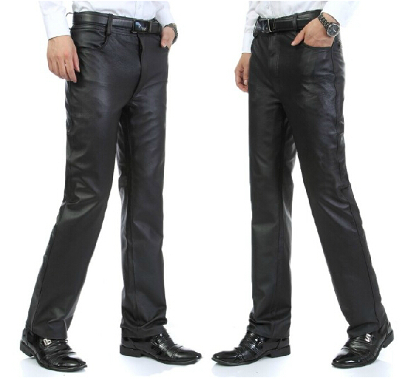 nanseehome motorcycle men's straight down leather pants