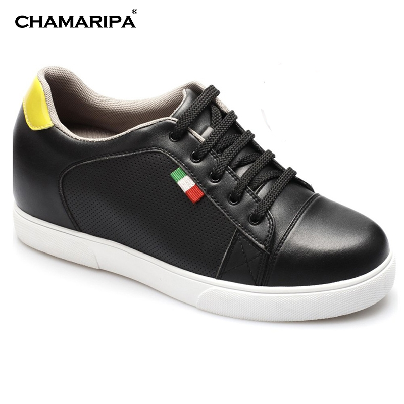 CHAMARIPA Men Black Elevator Shoe Increase Height 7cm/2.76 inch Microfiber Hidden Increasing Height Taller Sport Shoes LK19F16A  chamaripa increase height 7cm 2 76 inch taller elevator shoes black mens leather summer sandals height increasing shoes