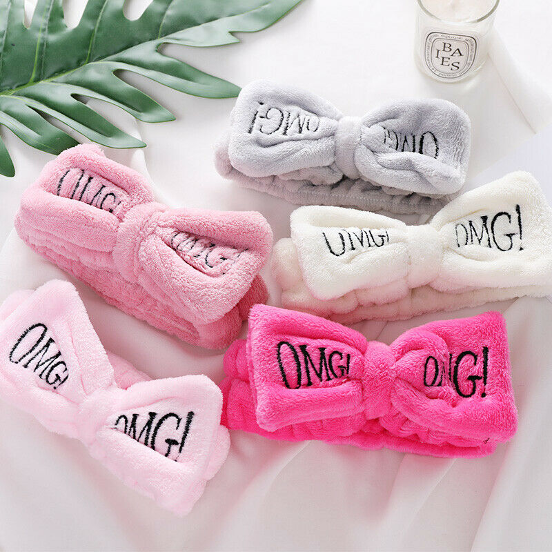 Novelty Letter OMG Coral Fleece Wash Face Bow Hairbands For Women Girls Headbands Headwear Hair Bands Turban Hair Accessories