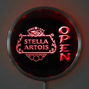 Rs-0040 Стелла артойс открытый светодиодный Неоновые Круглые знаки 25 см/10 дюймов-Бар знак с RGB многоцветная функция дистанционного беспроводно...