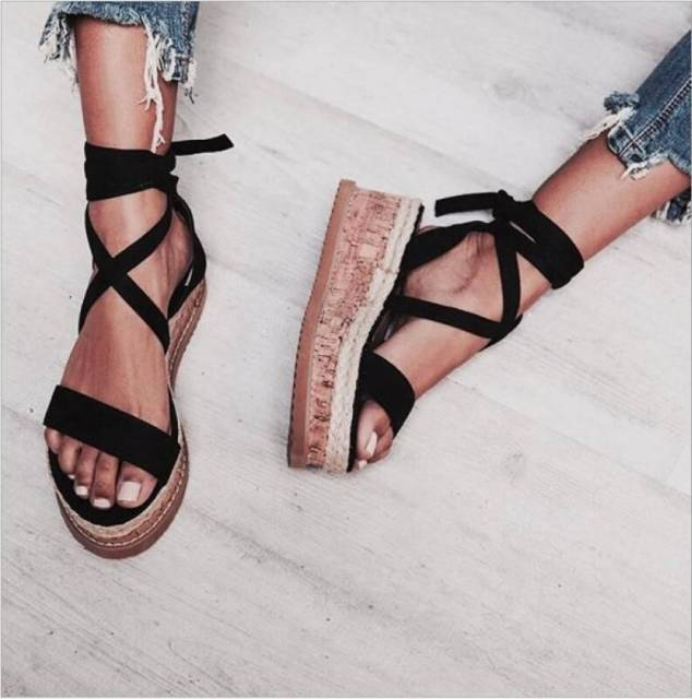 bfcaca8e028 US $16.99 10% OFF| Summer White Wedge Espadrilles Women Sandals Open Toe  Gladiator Sandals Women Casual Lace Up Women Platform Sandals -in Middle ...