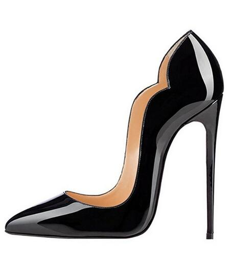Sexy High Heels Pointed toe Pumps Black Office Shoes Women 120MM Party Shoes Fashion Stiletto High Heel Pump Patent Leather Shoe women stiletto square heel high heels wedding shoes pointed toe patent leather fashion pumps heels shoes size 33 40 p22810