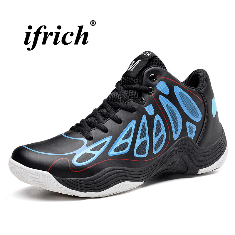 Man Basketball Shoes Black Yellow High Top Sneakers for Men Spring Autumn Training Shoes Men Cushioning PU Basketball Boots