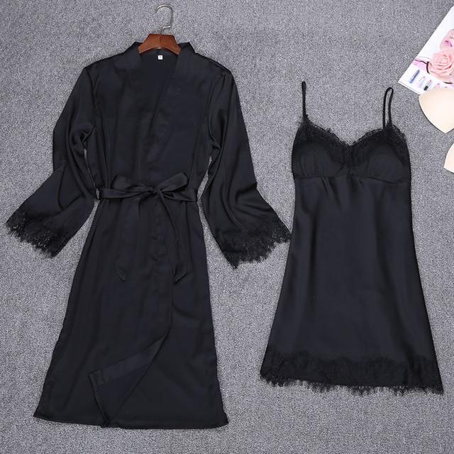 70229bb96 Melhor Sexy Preto Primavera 2 pcs Robe Cinta Terno Top Kimono ...
