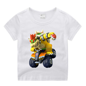 Baby Boy Girl  Mario Bowser Family Print Clothes Children Funny T-shirt Round Neck Cotton Children Summer Top 1
