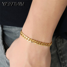 New Women's Men's Bracelet Cuban link Chain Bracelets Gold Color Rock Style 8 inch Bracelets Fashion Wholesale Jewelry for Men