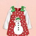 Baby Girl Dresses New 2016 Bow Dot Christmas Snowman Long Sleeved Dress Children's Clothing Vestido for Girls Clothes GDR105