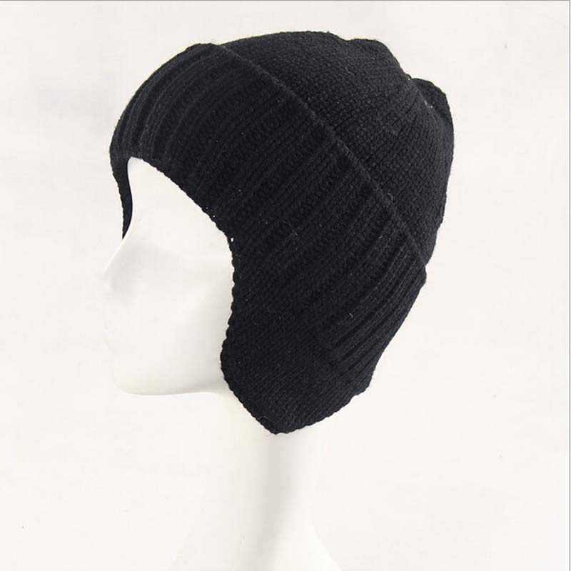 ... Зимняя шапка вязаный бомбер головные уборы для мужчин и женщин толстые  зимняя шапка-ушанка утепленная ... 761aad5fa33a5
