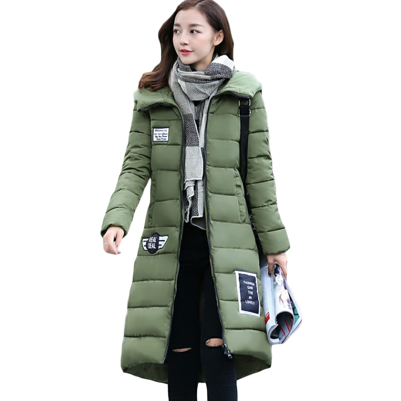 2017 New Women Winter Army Green Jacket Coats Long Thick Warm Cotton Padded Parkas Plus Size Hooded Patch Designs Outwear XH417 free shipping winter parkas men jacket new 2017 thick warm loose brand original male plus size m 5xl coats 80hfx