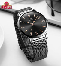 OLMECA Women Watches Simple Dial Fashion Quartz Watch Luxury Wristwatch For 30M Waterproof Milanese Band Sport Watch Black Color(China)