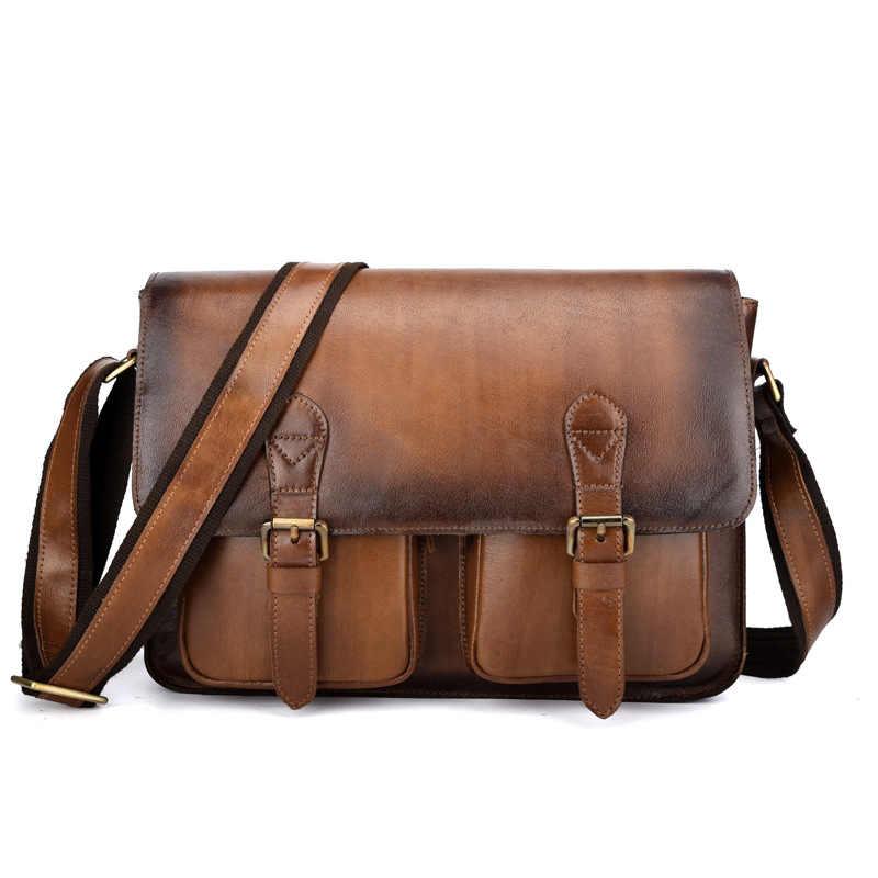 0d7abb79ecce Брендовая винтажная матовая Натуральная кожа ручной работы деловой портфель  мужская сумка через плечо сумка для ноутбука