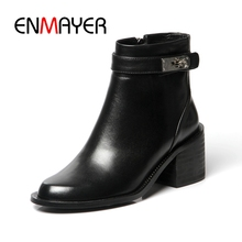 ENMAYER  Round Toe Genuine Leather Winter Boots Women Ankle Snow BootsSize 34-40 ZYL1693