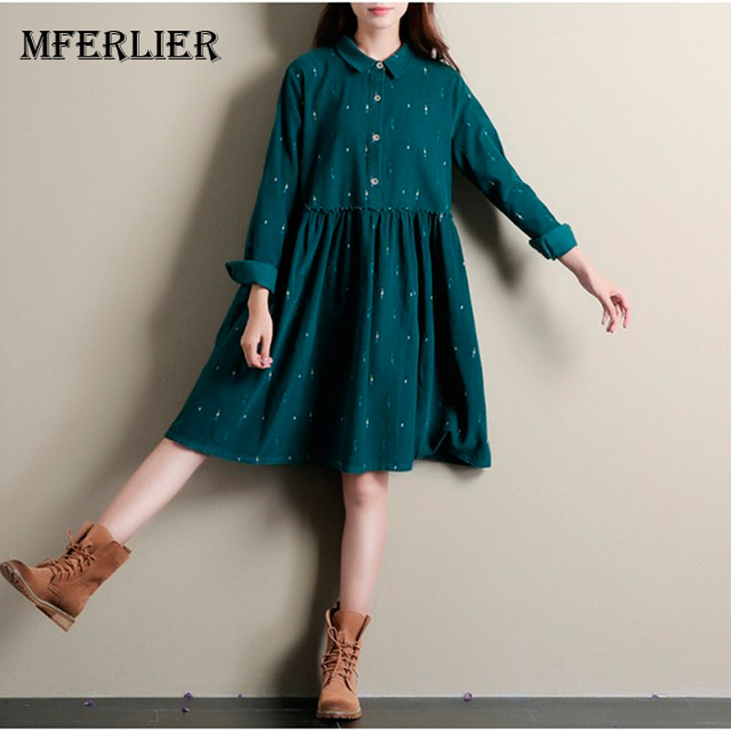 Autumn Dresses Green Color Long Sleeve Casual Loose Plus Size Dresses Turn Down Collar Corduroy Cotton