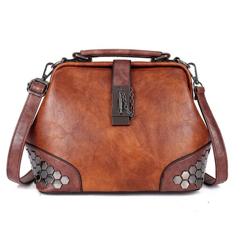 Women Handbag PU Leather Doctor Bag Women Shoulder Bag Female Crossbody Handbag Lock Chain Rivets Girls Vintage Women Bags  X442