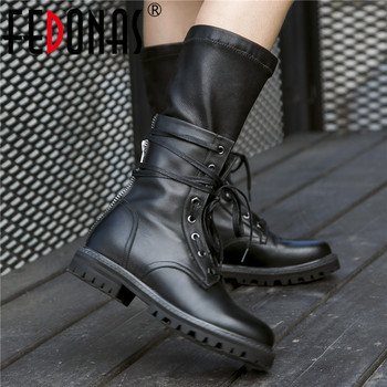 FEDONAS Genuine Leather Punk Motorcycle Boots Party Night Club Shoes Woman Autumn Winter Riding Boots for Women Mid-calf Boots