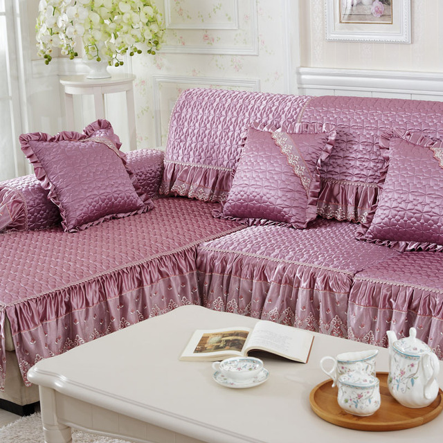 4colors 2/3 Seat Sofa Covers Silk Fabric Lace Eco Friendly Anti Mite