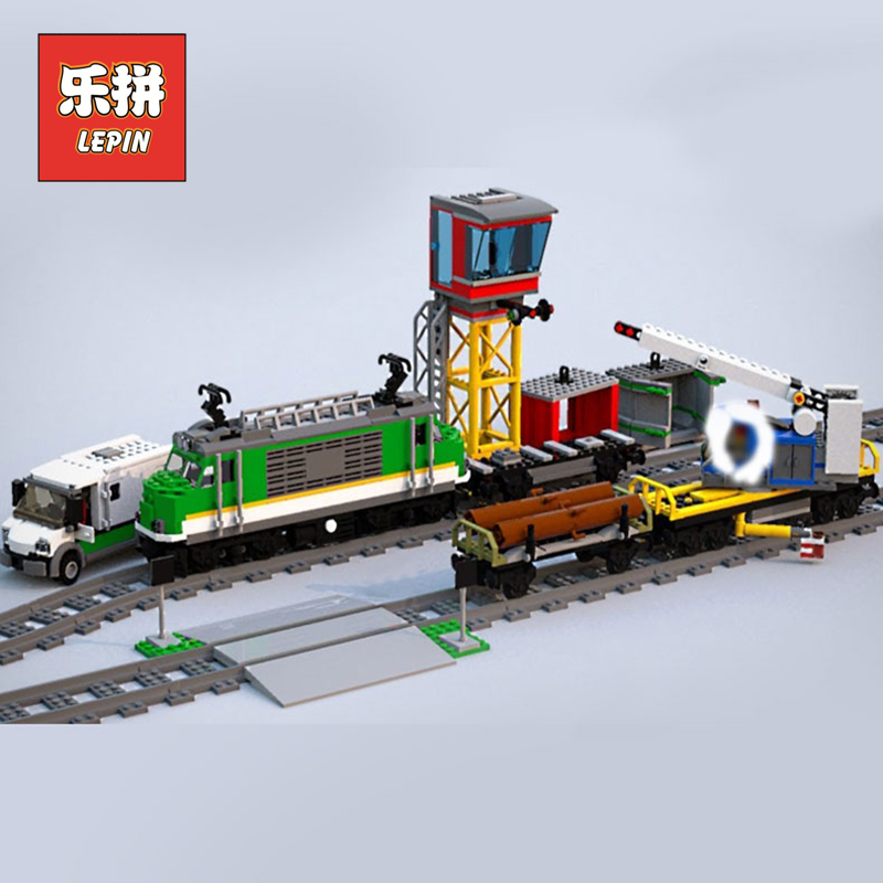 Lepin New City 02118 the Cargo RC Train Set Compatible 60198 Remote Control Power Train with Rails Building Blocks Bricks Toys 2018 lepin 02118 city series rc cargo train set compatible legoinglys 60198 city train building blocks bricks toys for children