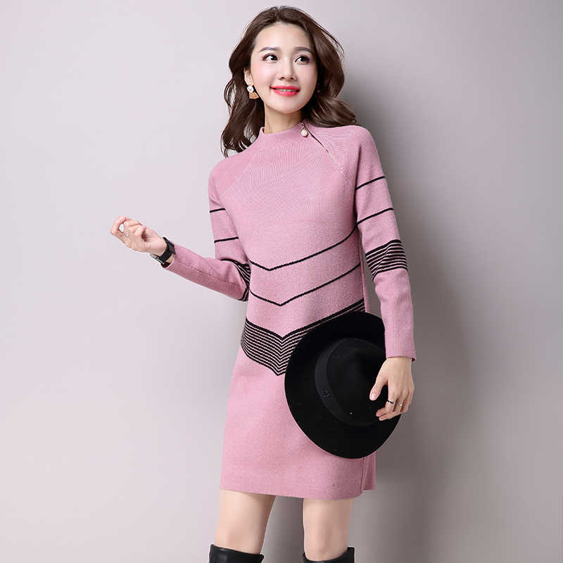 봄 가을 여성 드레스 절반 터틀넥 스웨터 니트 드레스 슬림 대형 짧은 풀오버 니트 드레스 여성 겨울 드레스 y127
