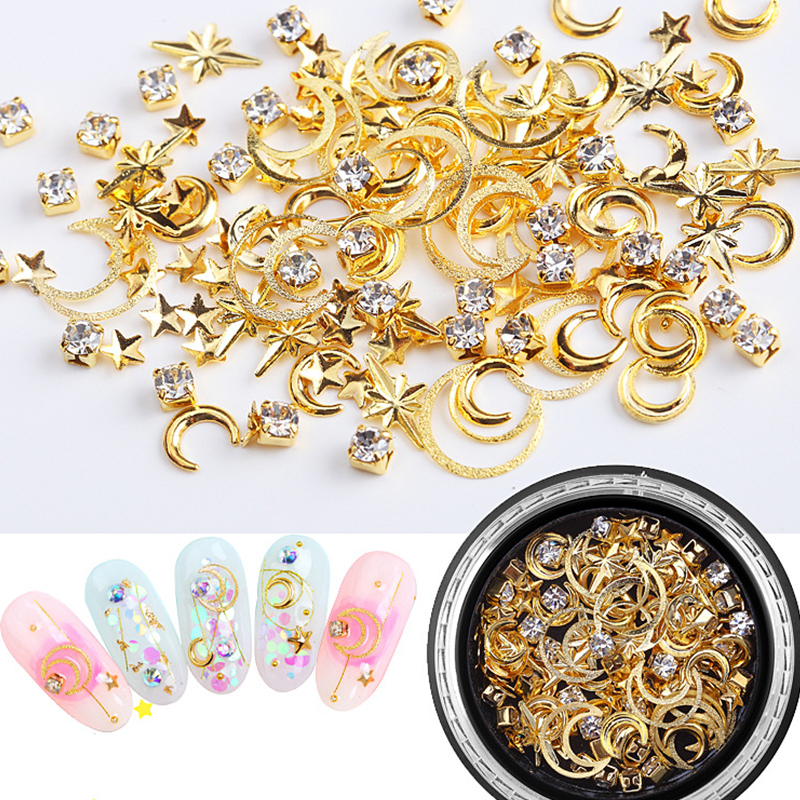 Metal Studs Nail Decorations Hollow Star Moon Matte Rivets Ultra Thin Decals Diy Tips Manicure Charms UV Gel  3D Perfect Nailart