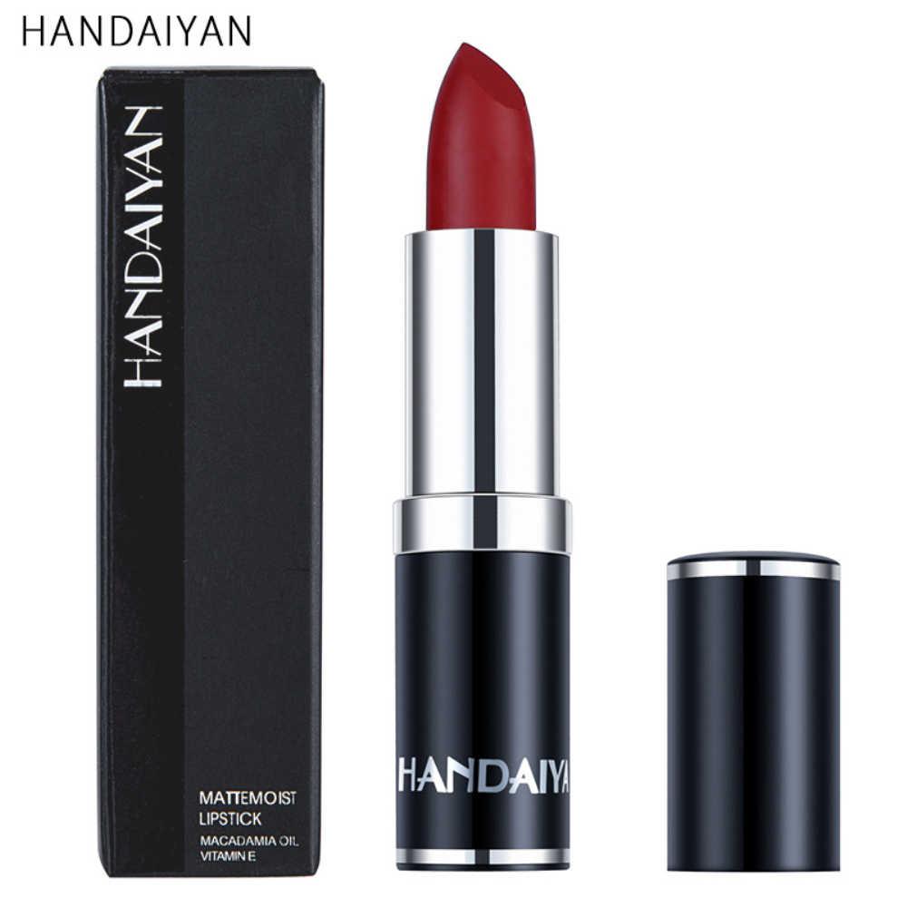 HANDAIYAN 12 צבעים מט שפתון צינורות עמיד למים לאורך זמן סקסי סגול שפתון פיגמנטים איפור לא להתפוגג TSLM2