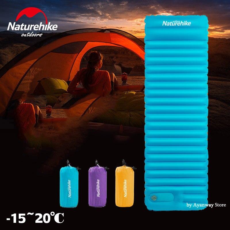 Naturehike NH18Q001-D Push Cama Esteira de Acampamento Inflável almofada Tenda À Prova D' Água Quente Ao Ar Livre Almofada de Dormir Piquenique Colchão Dobrável