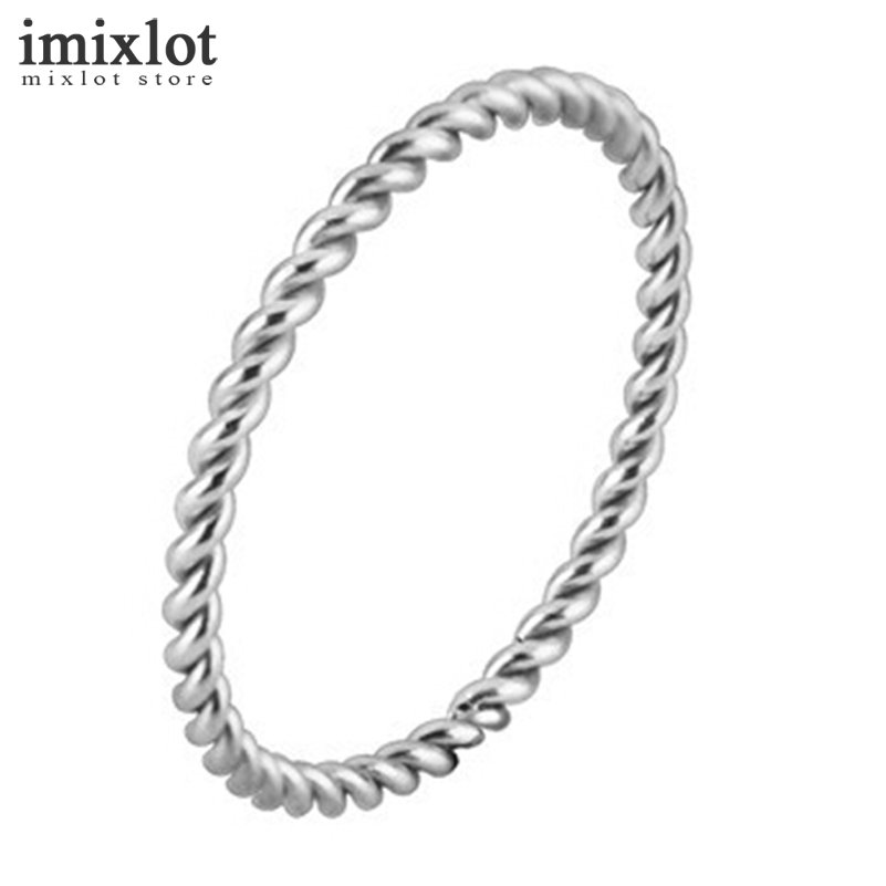 Imixlot Simple Style Stainless Steel Twisted Rings for Women and Men Rose Gold Silver Color Jewelry for Size 3-9