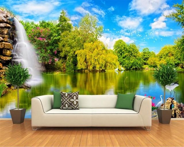 Natural Living Meubelen : Beibehang 3d wallpapers waterfalls water lakes nature landscape 3d