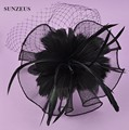 Beautiful Bridal Feather Headpiece Fascinator Black Tulle Party Veils Hats SQ016