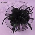 Hermosa Novia Tocado de Plumas Fascinator Negro Del Partido de Tulle Velos Sombreros SQ016