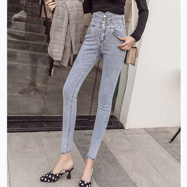 Фото джинсы карандаш с высокой талией женские эластичные джинсы скинни цена