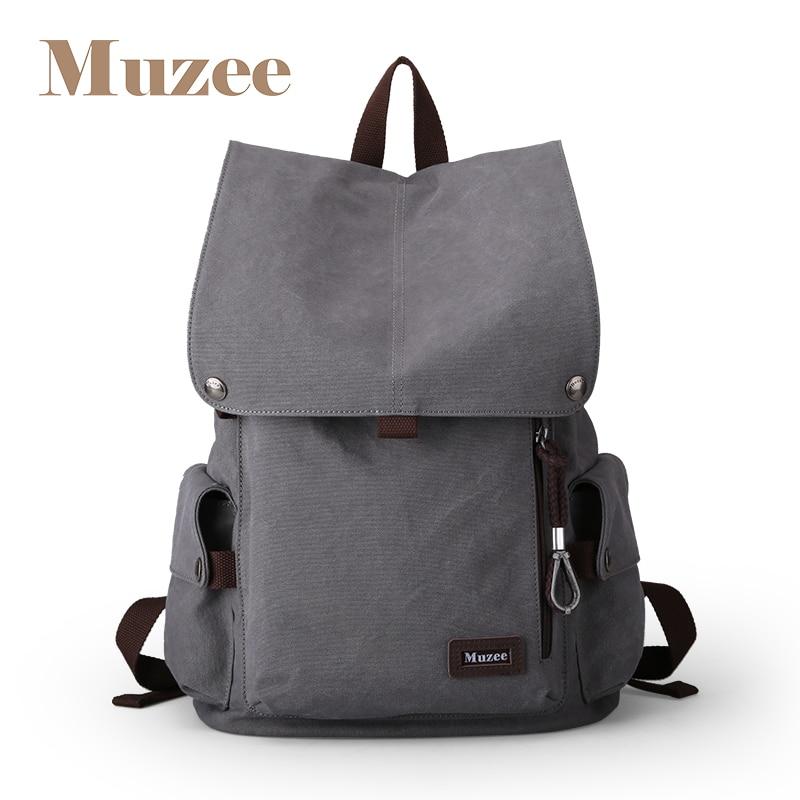Muzee Canvas Male Backpack High Capacity Travel Bag 15 6 inch Laptop backpack Men School Bag