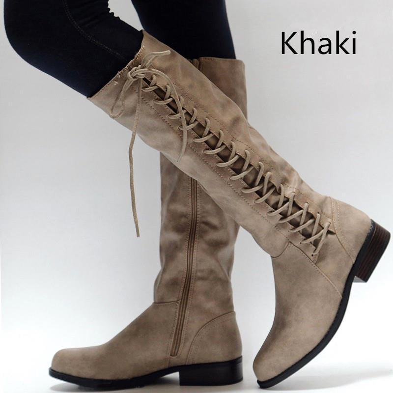 Femme D'hiver khaki Cuir Mi Confortable Mode Talon Bout Chaussures Marron Carré mollet Croix De Société Chuteira Pu Bottes Liée En Rond wAFdqrRwP