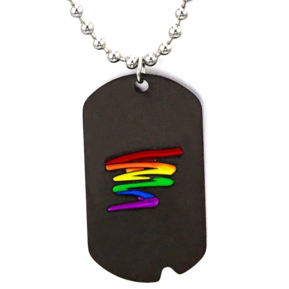e82cf9189bf5 El arte más nuevo diseño hombres Arco Iris Etiqueta de perro colgante collar  para mujer Acero inoxidable choker gay lesbianas LGBT orgullo joyería  Ketting
