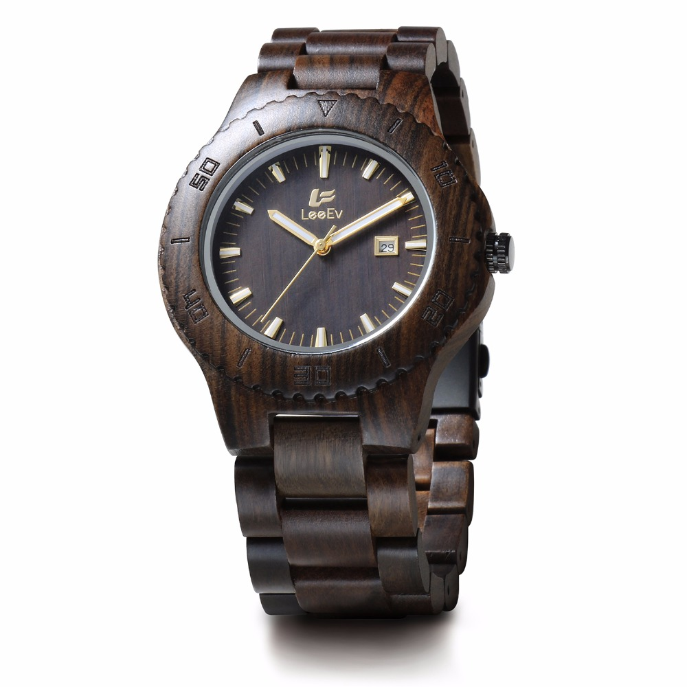 LeeEv Mens Wooden Watches Top Brand Luxury Watch 2016 Fashion Japan Movement Black Sandal Wood Men Big Wristwatches Best Gift luxury fashion japan quartz men wood watch arabic big number vintage genuine leather band bamboo wooden wristwatches antibrittle