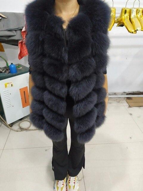 Doğal Gerçek Tilki Kürk Yelek Yeni Uzun Kalın Kadınlar için Hakiki Kürk Yelek Ceket Cepler Gerçek Kürk Yelek Palto Kadınlar ceket Uzunluğu 70cm