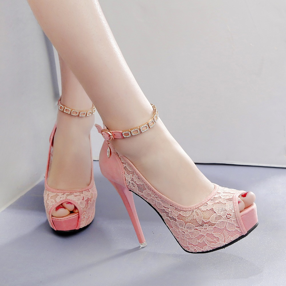 eb32cca898 RUIDENG women super high heel wedding pumps 12cm peep toe sweet sexy party  shoes lady lace platform 4cm thin heelsUSD 32.80/pair
