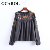 GCAROL Vintage Embroidered Floral Women Blouse Ruffles Pullover Shirt Back Button Elastic Cuff High Quality Female Smock