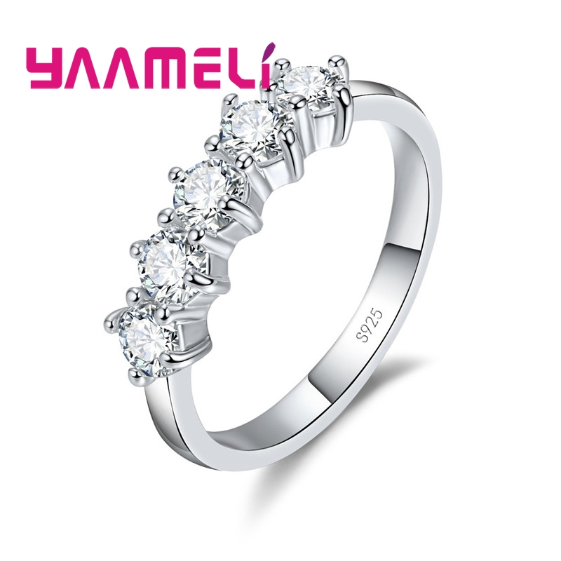 Charm 925 Sterling Silver Wedding Engagement Rings For Women Bridal Jewelry Cubic Zircon Crystal Proposal Ring Bijoux