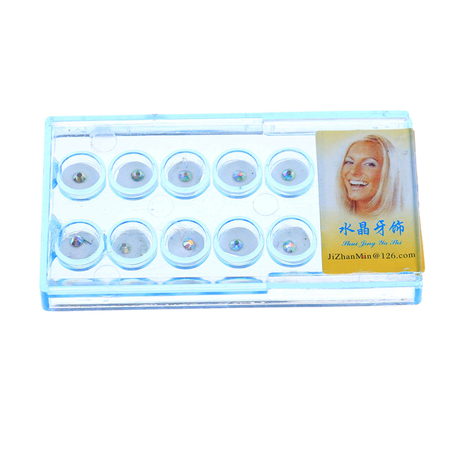 10pcs Diamond Bur Dental Material Teeth Whitening Studs Denture Acrylic Teeth Crystal Ornament Oral Hygiene Tooth Decoration