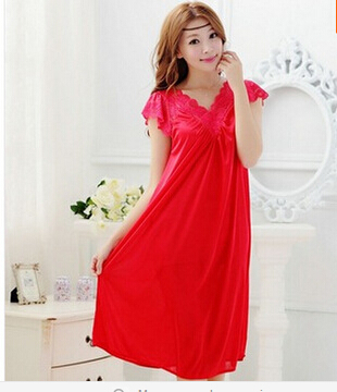 Free shipping women red lace sexy nightdress girls plus size Large size Sleepwear nightgown night dress skirt Y02-4 image