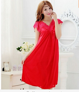 Women red lace sexy nightdress
