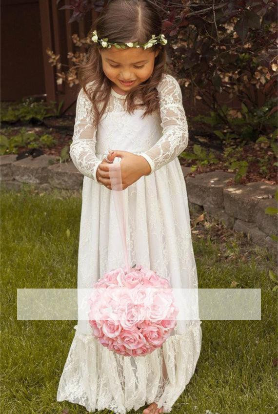 Ivory 2019   Flower     Girl     Dresses   For Weddings A-line Scoop Long Sleeves Lace Bow Long First Communion   Dresses   For Little   Girls